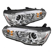 2008-2013 Mitsubishi Lancer EVO-10 Projector HeadLights (PAIR) - Halogen Model Only ( Not Compatible With Xenon/HID Model ) - LED Halo - DRL - Chrome - High H1 (Included) - Low H7 (Included) (Spyder Auto)
