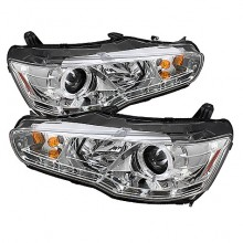 2008-2013 Mitsubishi Lancer EVO-10 Projector HeadLights (PAIR) - Xenon/HID Model Only ( Not Compatible With Halogen Model ) - LED Halo - DRL - Chrome - High H1 (Included) - Low D2R (Not Included) (Spyder Auto)