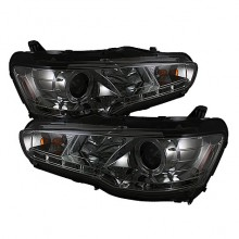 2008-2013 Mitsubishi Lancer EVO-10 Projector HeadLights (PAIR) - Xenon/HID Model Only ( Not Compatible With Halogen Model ) - LED Halo - DRL - Smoke - High H1 (Included) - Low D2R (Not Included) (Spyder Auto)