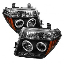 2005-2007 Nissan Pathfinder Projector HeadLights (PAIR) - CCFL Halo - LED ( Replaceable LEDs ) - Black - High H1 (Included) - Low H1 (Included) (Spyder Auto)
