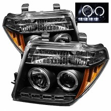 2005-2007 Nissan Pathfinder Projector HeadLights (PAIR) - LED Halo - LED ( Replaceable LEDs ) - Black - High H1 (Included) - Low H1 (Included) (Spyder Auto)