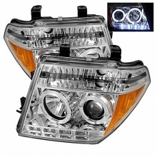2005-2007 Nissan Pathfinder Projector HeadLights (PAIR) - LED Halo - LED ( Replaceable LEDs ) - Chrome - High H1 (Included) - Low H1 (Included) (Spyder Auto)