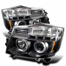 2004-2007 Nissan Armada Projector HeadLights (PAIR) - LED Halo - LED ( Replaceable LEDs ) - Black - High H1 (Included) - Low H1 (Included) (Spyder Auto)