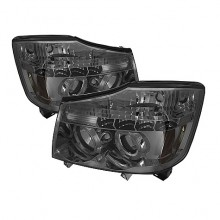 2004-2007 Nissan Armada Projector HeadLights (PAIR) - LED Halo - LED ( Replaceable LEDs ) - Smoke - High H1 (Included) - Low H1 (Included) (Spyder Auto)