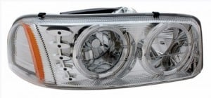 1999-2006 GMC SIERRA HEADLIGHTS (PAIR) HALO CHROME W/ LED AMBER   (Anzo USA)