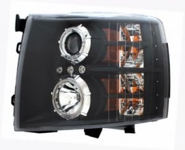2007-2007 CHEVY SILVERADO PROJECTOR HEADLIGHTS (PAIR) BLACK CLEAR  (Anzo USA)