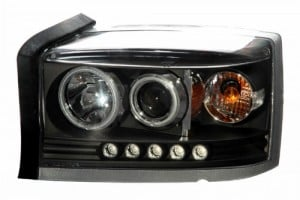 2005-2006 DODGE DAKOTA PROJECTOR LED HEADLIGHTS (PAIR) HALO BLACK CLEAR AMBER  (Anzo USA)