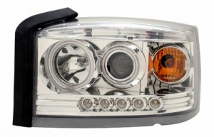 2005-2006 DODGE DAKOTA PROJECTOR LED HEADLIGHTS (PAIR) HALO CHROME CLEAR AMBER  (Anzo USA)