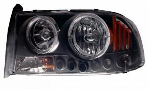 1997-2004 DODGE DAKOTA 1 PC L HEADLIGHTS (PAIR) HALO BLACK WITH AMBER  (Anzo USA)