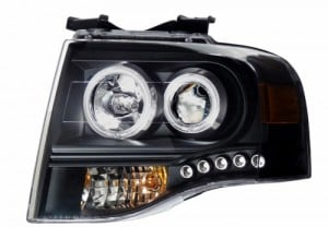 2007-2008 FORD EXPEDITION PROJCTOR HEADLIGHTS (PAIR) BLACK CLEAR AMBER  (Anzo USA)