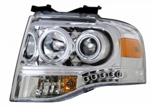 2007-2008 FORD EXPEDITION PROJCTOR HEADLIGHTS (PAIR) CHROME CLEAR AMBER  (Anzo USA)