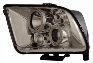 2005-2009 FORD MUSTANG PROJECTOR HEADLIGHTS (PAIR) HALO CHROME CLEAR (CCFL)  (Anzo USA)