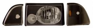 1987-1993 FORD MUSTANG CRYSTAL HEADLIGHTS (PAIR) BLACK SET W/ CORNER & PARKING   (Anzo USA)