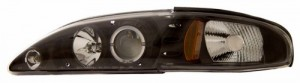 1994-1998 FORD MUSTANG 1 PC PROJECTOR HEADLIGHTS (PAIR) HALO BLACK CLEAR AMBER   (Anzo USA)