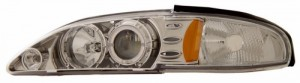 1994-1998 FORD MUSTANG 1 PC PROJECTOR HEADLIGHTS (PAIR) HALO CHROME CLEAR AMBER   (Anzo USA)