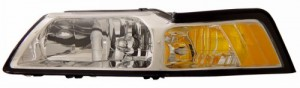 1999-2004 FORD MUSTANG CRYSTAL HEADLIGHTS (PAIR) CLEAR AMBER   (Anzo USA)