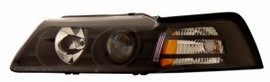 1999-2004 FORD MUSTANG PROJECTOR HEADLIGHTS (PAIR) BLACK CLEAR AMBER   (Anzo USA)