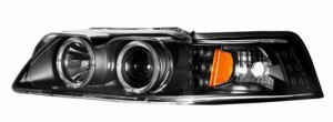 1999-2004 FORD MUSTANG PROJECTOR HEADLIGHTS (PAIR) G2 BLACK CLEAR AMBER(DUAL PROJECTOR)  (Anzo USA)