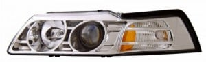 1999-2004 FORD MUSTANG PROJECTOR HEADLIGHTS (PAIR) CHROME CLEAR AMBER   (Anzo USA)