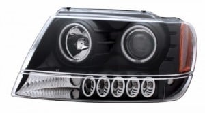 1999-2004 JEEP GRAND CHEROKEE PROJECTOR HEADLIGHTS (PAIR) HALO BLACK CLEAR AMBER (CCFL)  (Anzo USA)