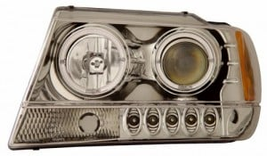 1999-2004 JEEP GRAND CHEROKEE PROJECTOR HEADLIGHTS (PAIR) HALO CHROME CLEAR AMBER   (Anzo USA)