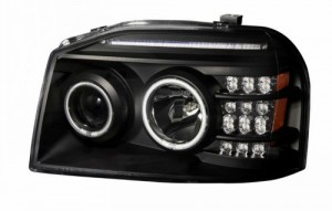 2001-2004 NISSAN FRONTIER PROJECTOR HEADLIGHTS (PAIR) W/ LED BAR BLACK CLEAR AMBER (CCFL)  (Anzo USA)