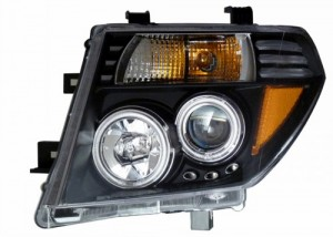 2005-2008 NISSASN FRONTIER PROJECTOR HEADLIGHTS (PAIR) BLACK CLEAR AMBER (Not fit V8)  (Anzo USA)