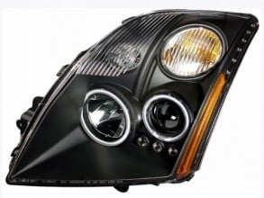 2007-2009 NISSAN SENTRA PROJECTOR HEADLIGHTS (PAIR) HALO W/O CCFL BAR BLACK CLEAR AMBER (CCFL)   (Anzo USA)