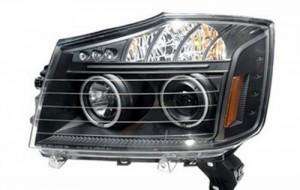 2008-2009 NISSAN TITAN PROJECTOR LED HEADLIGHTS (PAIR) HALO BLACK CLEAR AMBER(CCFL)  (Anzo USA)
