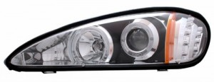 1999-2005 PONTIAC GRAND AM PROJECTOR HEADLIGHTS (PAIR) HALO WITH LED BLACK CLEAR AMBER  (Anzo USA)