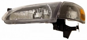 1998-2000 TOYOTA COROLLA CRYSTAL HEADLIGHTS (PAIR) BLACK AMBER WITH CORNER LIGHT  (Anzo USA)