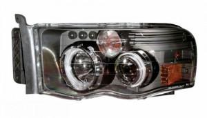 2002-2005 DODGE RAM PROJECTOR HEADLIGHTS (PAIR) G2 W/O CCFL BAR HALO BLACK CLEAR AMBER (CCFL)  (Anzo USA)