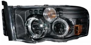 2002-2005 DODGE RAM PROJECTOR HEADLIGHTS (PAIR) G2 W/O CCFL BAR HALO BLACK CLEAR AMBER   (Anzo USA)