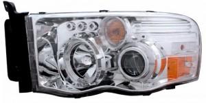 2002-2005 DODGE RAM PROJECTOR HEADLIGHTS (PAIR) G2 W/O CCFL BAR HALO CHROME CLEAR AMBER   (Anzo USA)