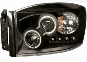 2006-2007 DODGE RAM PROJECTOR HEADLIGHTS (PAIR) HALO BLACK CLEAR AMBER  (Anzo USA)