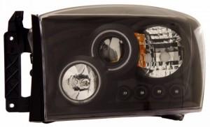 2006-2007 DODGE RAM PROJECTOR HEADLIGHTS (PAIR) HALO BLACK CLEAR AMBER(CCFL)  (Anzo USA)