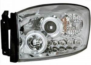 2006-2007 DODGE RAM PROJECTOR HEADLIGHTS (PAIR) HALO CHROME CLEAR AMBER  (Anzo USA)