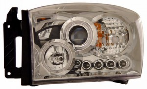 2006-2008 DODGE RAM PROJECTOR HEADLIGHTS (PAIR) HALO CHROME CLEAR AMBER(CCFL)  (Anzo USA)