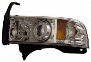 1994-2001 DODGE RAM PROJECTOR HEADLIGHTS (PAIR) HALO CHROME CLEAR AMBER(CCFL)   (Anzo USA)