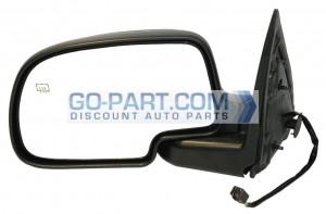 1999-2002 GMC Sierra Side View Mirror (Standard Style / Power Remote / Heated / Matte-Black Base) - Left (Driver)