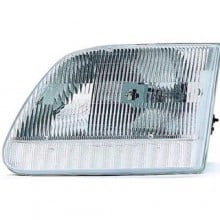 1997 -  2003 Ford F-150 Front Headlight Assembly Replacement Housing / Lens / Cover - Left <u><i>Driver</i></u> Side - (Base Model + Harley-Davidson Edition + Lariat + XL + XLT)