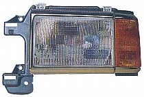 1987-1991 Ford F-Series Pickup Headlight Assembly (Black with Bright Trim / Includes Park Lamp) - Left (Driver)