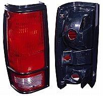 1982-1993 Chevrolet Chevy S10 Pickup Tail Light Rear Brake Lamp (with Black Bezel Lens) - Left (Driver)