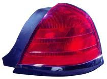 1999 - 2000 Ford Crown Victoria Rear Tail Light Assembly Replacement (with 2 Bulb Lamp + with Black Molding) - Right (Passenger)