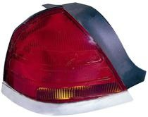 1999 - 2000 Ford Crown Victoria Tail Light Rear Lamp (with 4 Bulb Lamp) - Left (Driver)