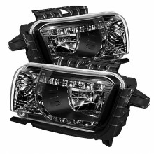 2010-2012 Chevy Camaro DRL LED Crystal HeadLights (PAIR) - Black (Spyder Auto)