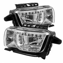 2010-2012 Chevy Camaro DRL LED Crystal HeadLights (PAIR) - Chrome (Spyder Auto)