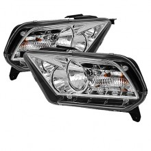 2010-2012 Ford Mustang ( Non HID ) DRL LED Crystal HeadLights (PAIR) - Chrome (Spyder Auto)