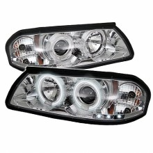 2000-2005 Chevy Impala Projector HeadLights (PAIR) - CCFL Halo - LED ( Replaceable LEDs ) - Chrome - High H1 (Included) - Low H1 (Included) (Spyder Auto)