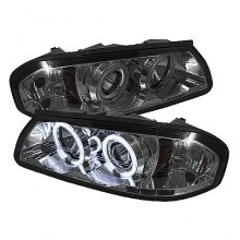 2000-2005 Chevy Impala Projector HeadLights (PAIR) - CCFL Halo - LED ( Replaceable LEDs ) - Smoke - High H1 (Included) - Low H1 (Included) (Spyder Auto)